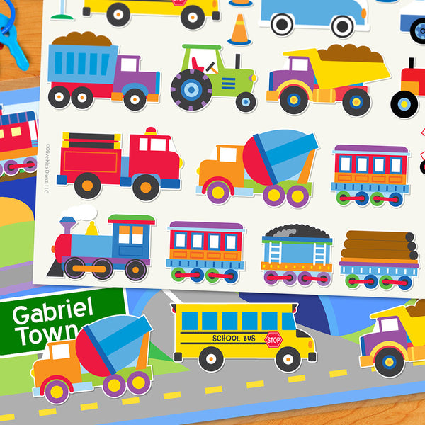 Trains, Planes & Trucks Personalized Kids Playmat