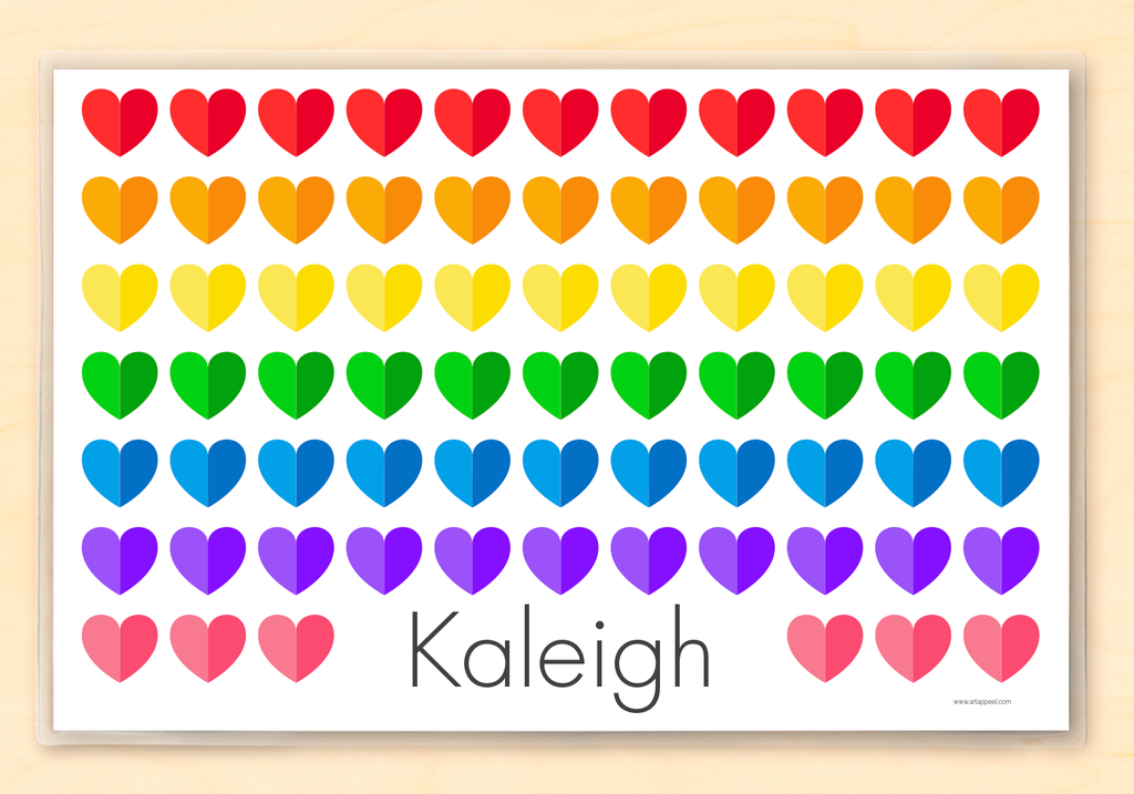 Valentine Rainbow Hearts Kids Placemat Gift