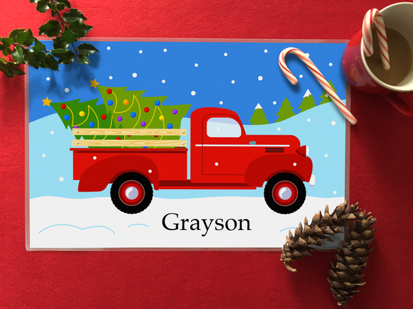Christmas kids personalized placemat with vintage red pickup truck, christmas trees and snow