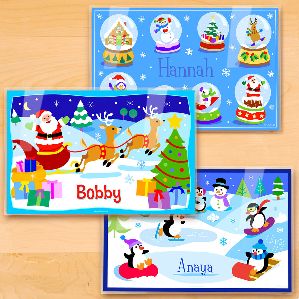 Christmas Personalized Kids Placemat Set of 3 by Olive Kids