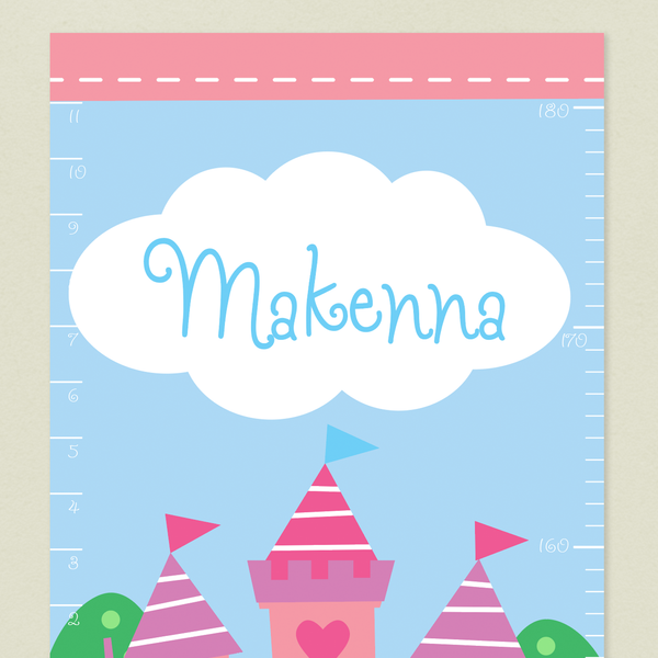 Closeup of Princess Growth Chart with Pink Castle on a sky blue background, with child's name written in blue on a white cloud in the sky.