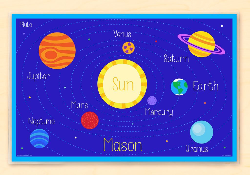 Solar System Personalized Kids Placemat with colorful planets on a rich blue background