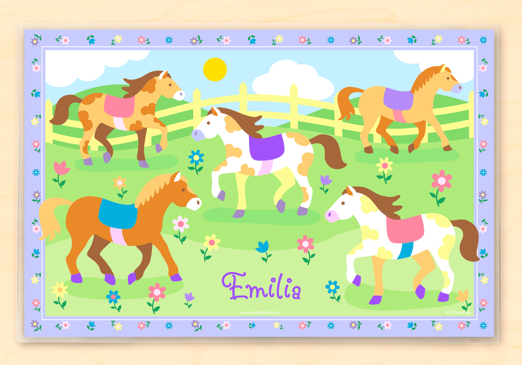 Ponies Personalized Kids Placemat with horses on a field of flowers