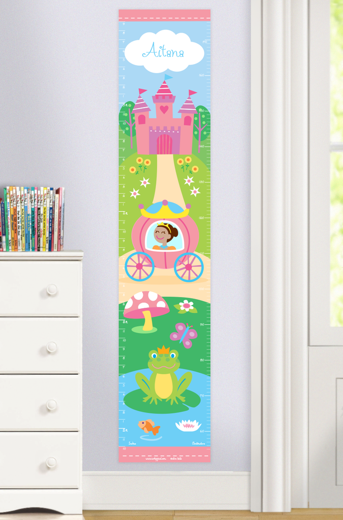 Princess Growth Chart features princess with dark complexion in coach with castle and prince frog. Personalized with name at the top. Photographed in room setting.
