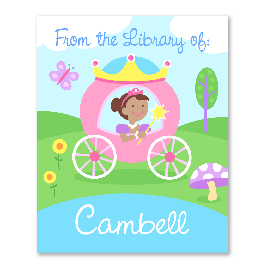 Princess Dark Skin Personalized Bookplates