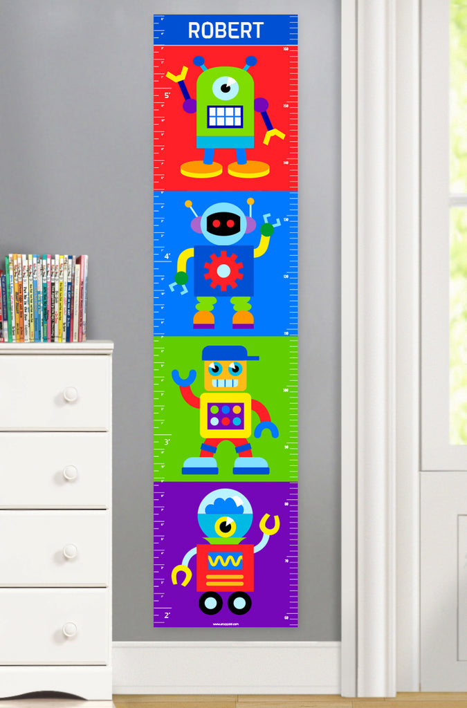 Canvas Growth Chart with Colorful Robots for Kids