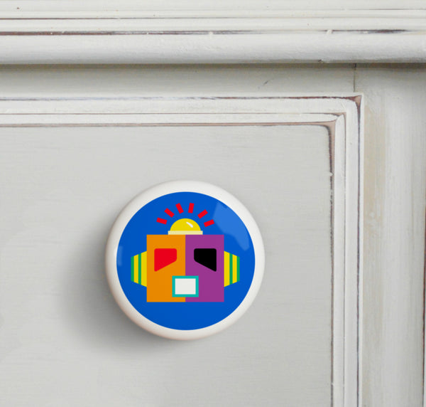 Blue - Robots Small Ceramics Kids Drawer Knob by Olive Kids from Art Appeel