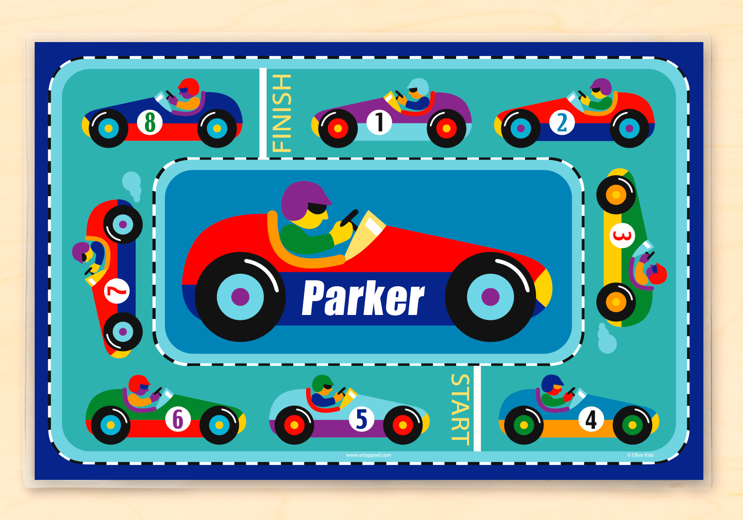 c3b0fc7c4f1b5 Vroom Race Car Personalized Kids Placemat
