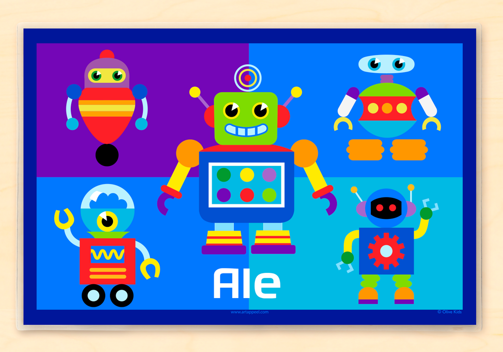Robots Personalized Kids Placemat with colorful robots on a color block background