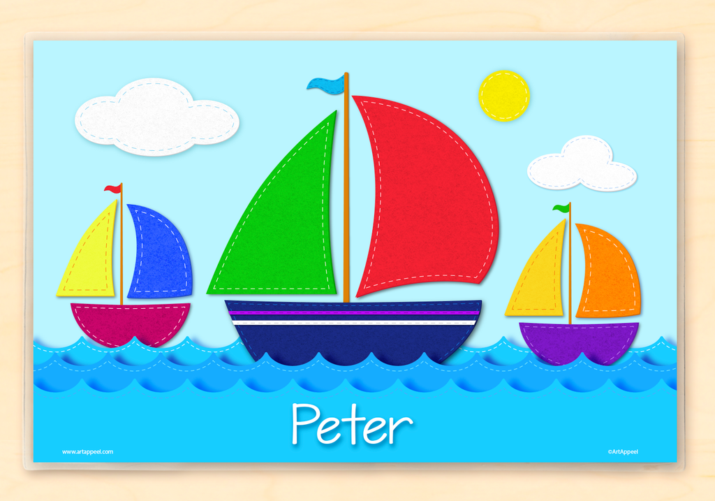 3 sailboats with colorful sails on ocean waves with a sunny sky. Personalized placemat with child's name across the water.