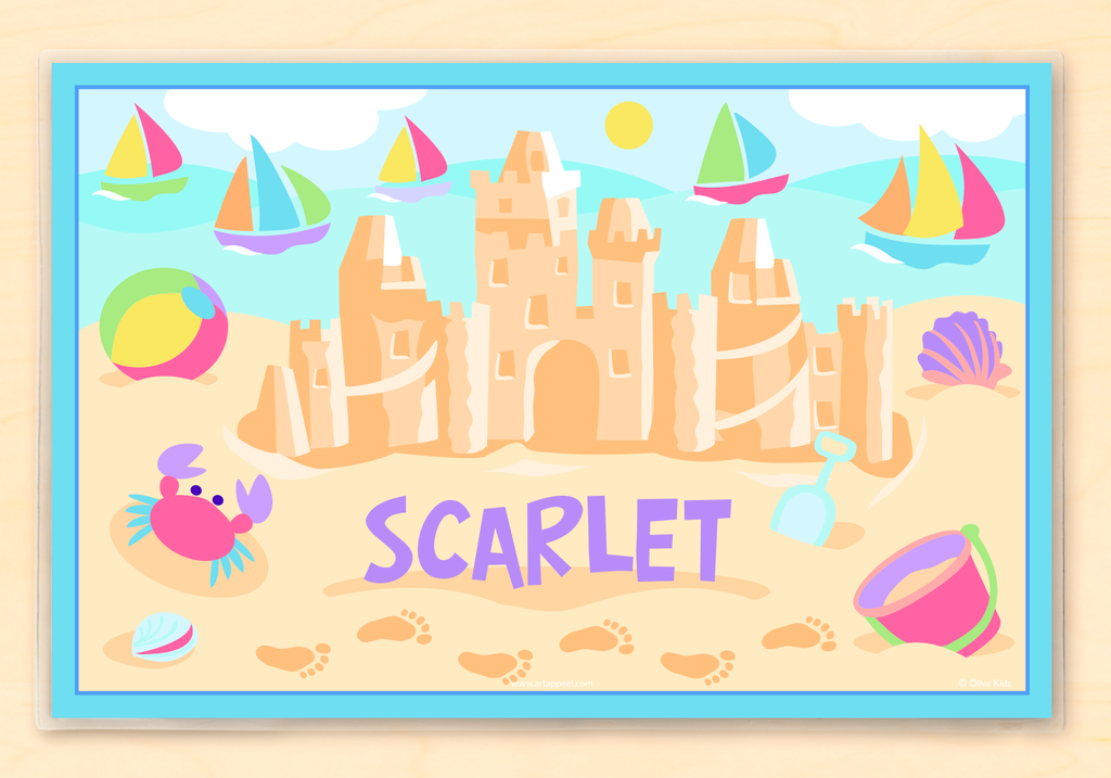 Summer Sandcastle Girls Personalized Kids Placemat by Olive Kids