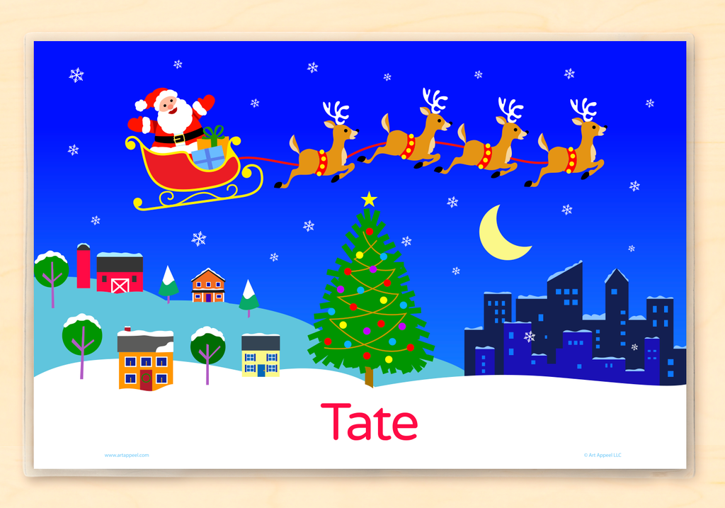 Kids Christmas personalized name placemat with Santa and reindeer flying over the country and city night sky