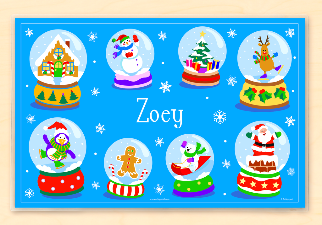 Winter Snow Globes Personalized Placemat