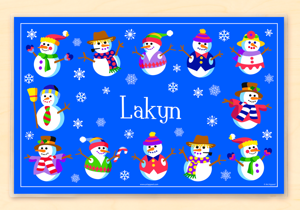 Winter Snowmen Personalized Kids Placemat