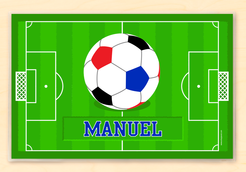 Soccer personalized placemat with soccer ball and field.