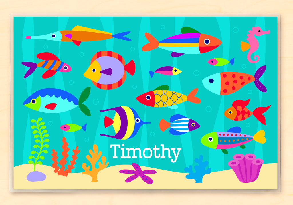 Underwater themed Personalized Kids Placemat with brightly colored fish blue waves and bubbles