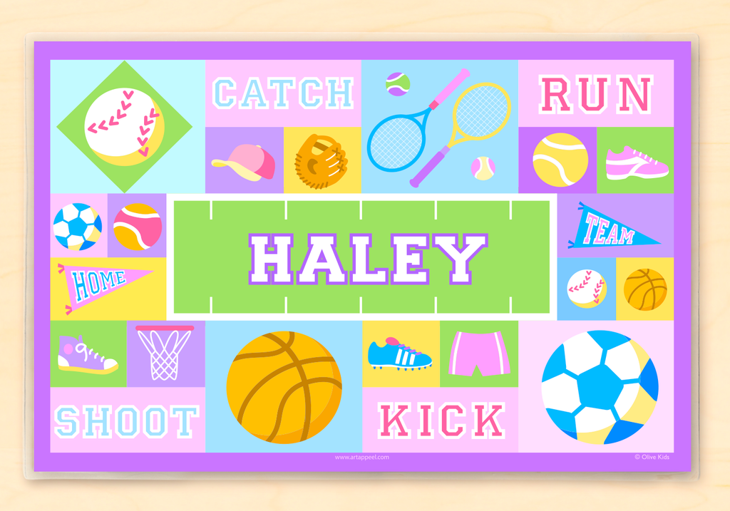Sports Themed Personalized Girl's Placemat with sports balls and equipment