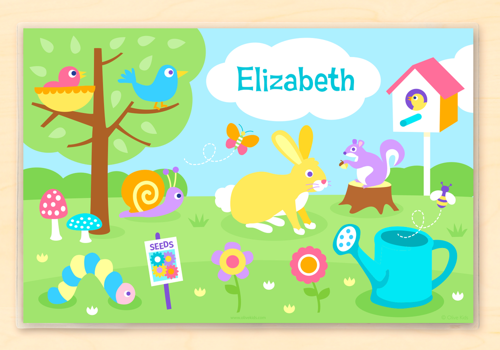 Spring Personalized Kids Placemat with animals and flowers