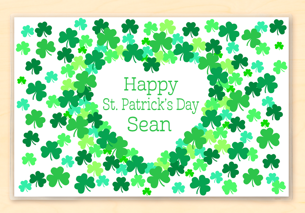 St. Patrick's Day Shamrocks Personalized kids Placemat