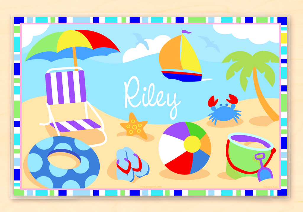 Summertime Boys Beach Scene Personalized Placemat