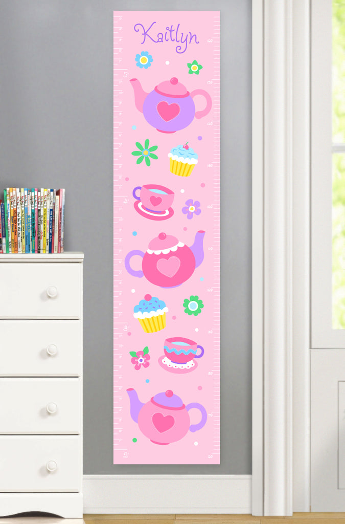 Tea Party themed Growth Chart with teapots, tea cups and flowers.