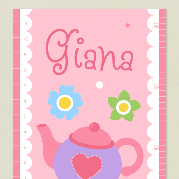 Closeup of Tea Party Growth Chart with purple teapot on a pink background. Childs name written at top in darker pink.