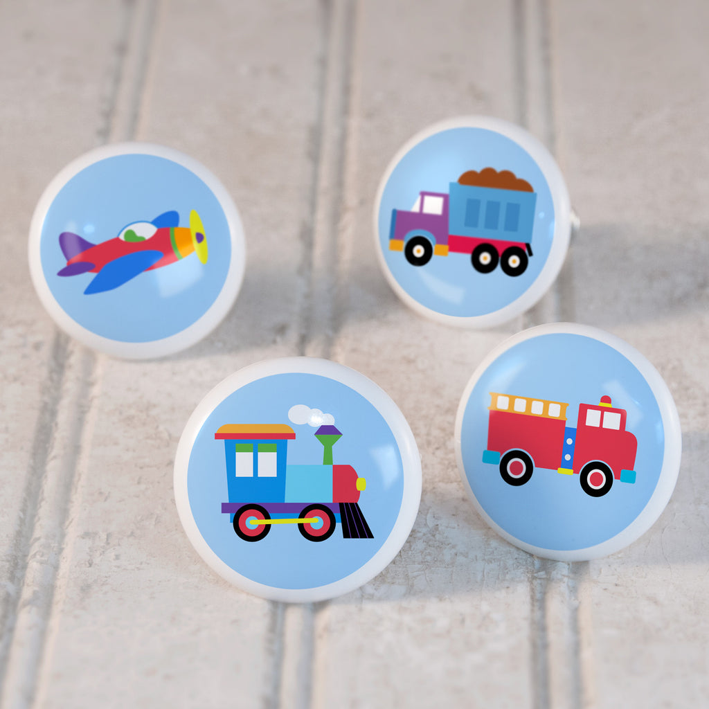 Trains, Planes & Trucks Kids Drawer Knob Set with train, airplane, firetruck, and dumptruck vehicles