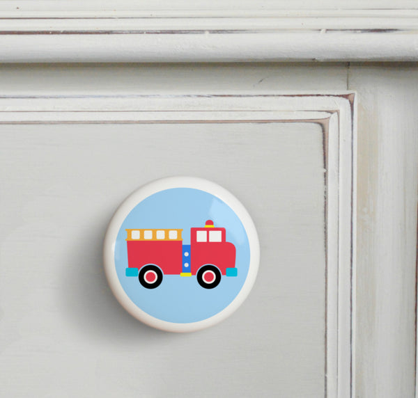 Firetruck kids drawer knob