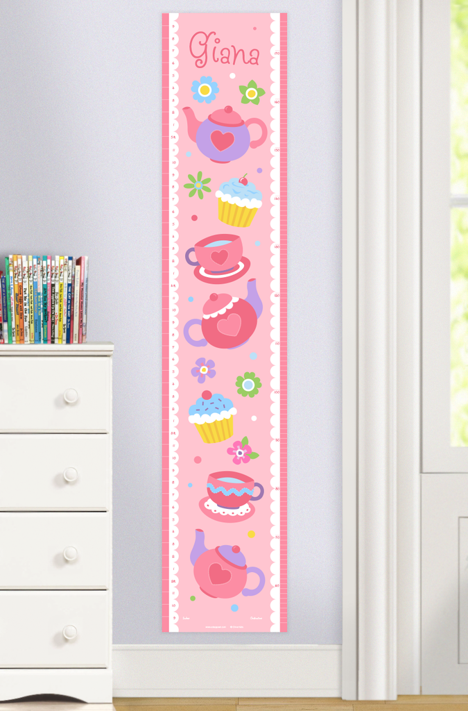 Tea Party Growth Chart with Tea Cups, Teapots, and cupcakes on a pink background. Personalized with child's name at top. Photographed in room setting.