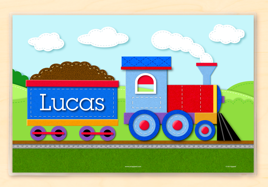 Train personalized placemat with blue and red train engine.