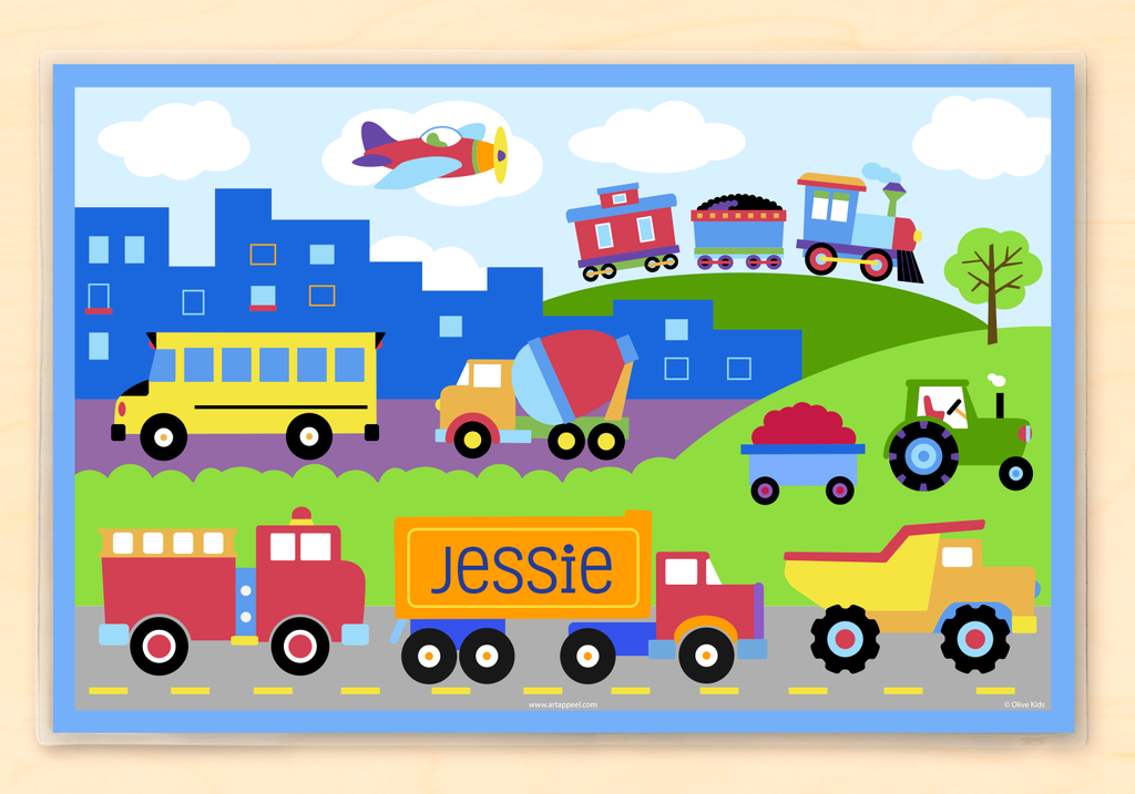 Personalized kids transportation placemat with trains, planes, trucks, and vehicles in a country and city landscape scene, featuring firetruck, dump truck, tractor, and school bus