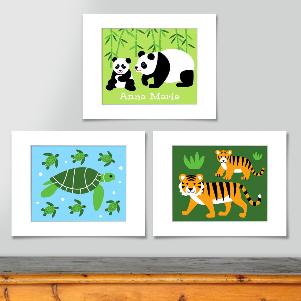 Set of 3 corodinating prints. Panda and baby on a spring green background, personalized with childs name. Sea Turtles on a light blue background, and tiger mama and cub on a bright greeen background.