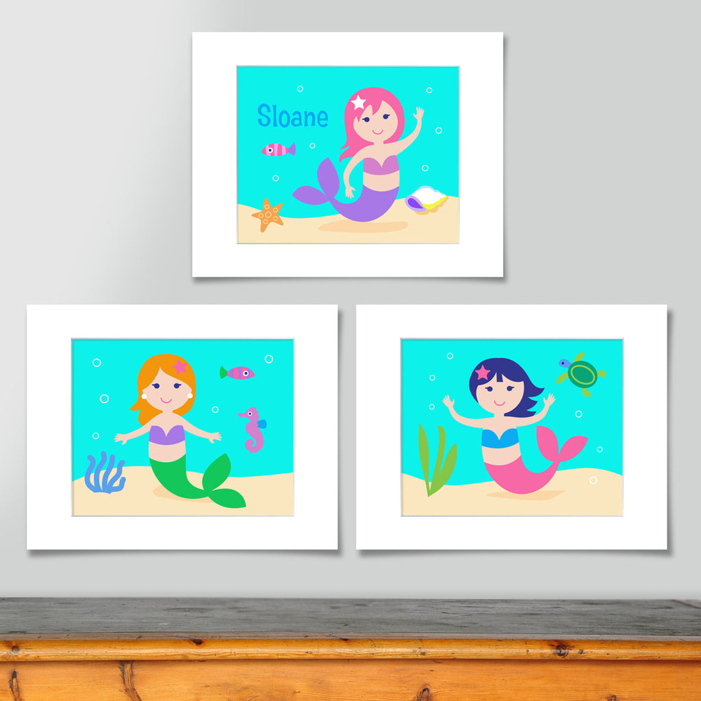 Mermaids Personalized Art Print - Set of 3
