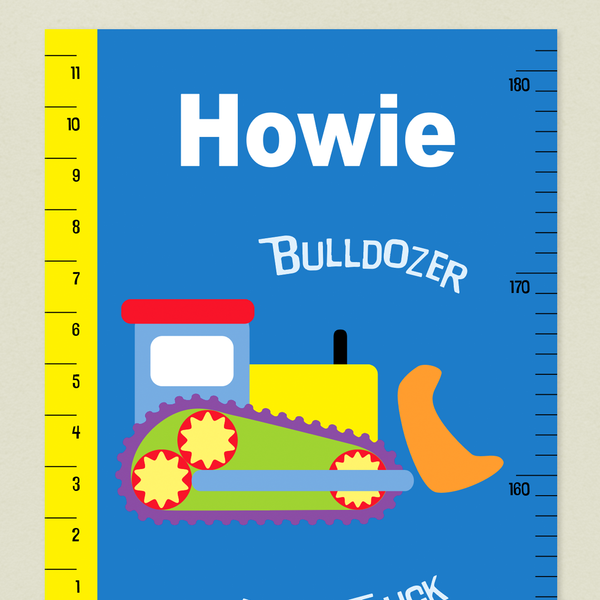 Closeup of Construction Growth Chart with colorful bulldozer on a blue background and yellow tape measure up the left side. Child's name at top in white.