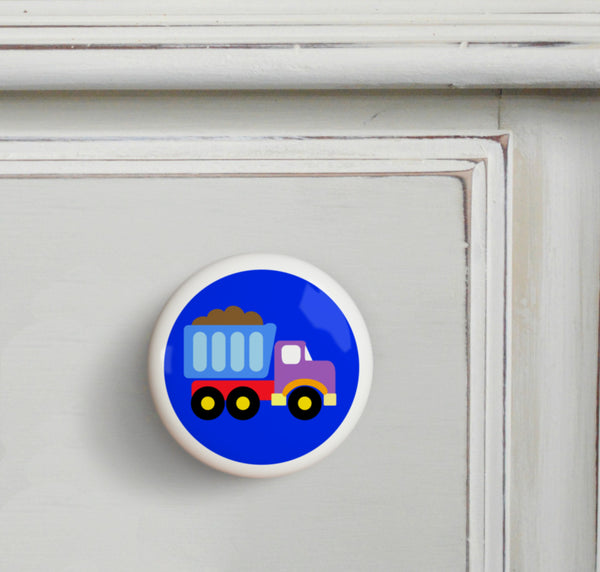 Truck - Under Construction Small Ceramics Kids Drawer Knob by Olive Kids from Art Appeel