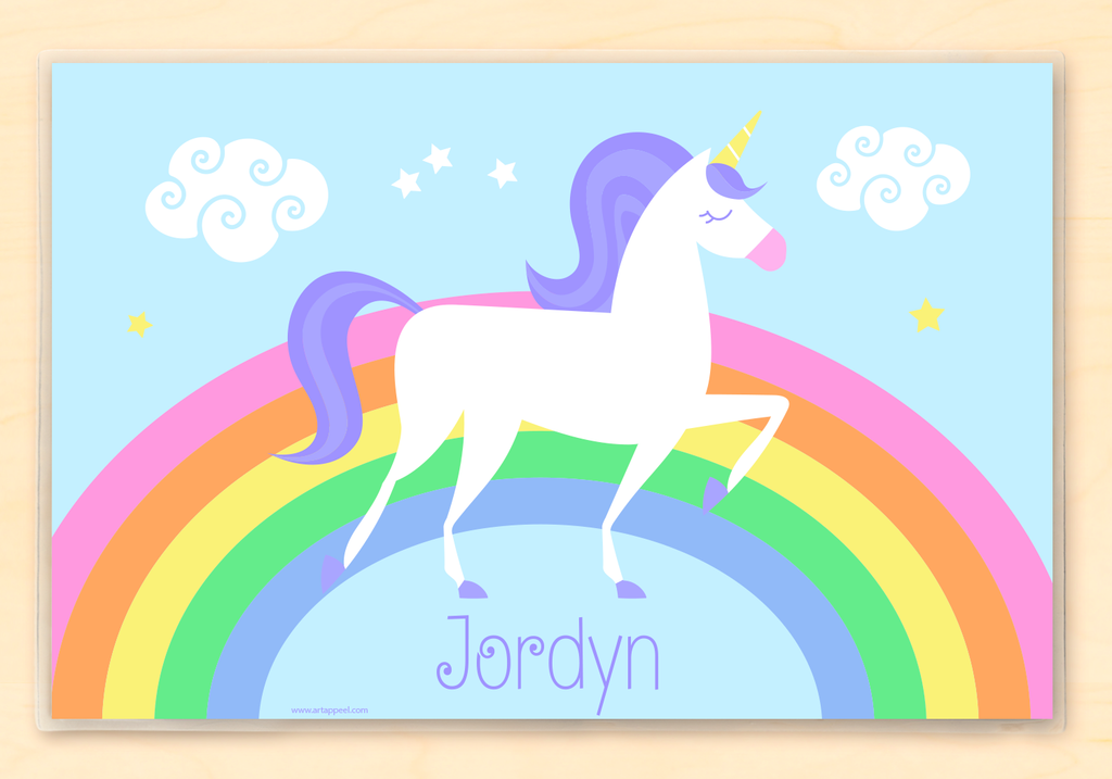 Kids personalized placemat with a Unicorn and rainbow