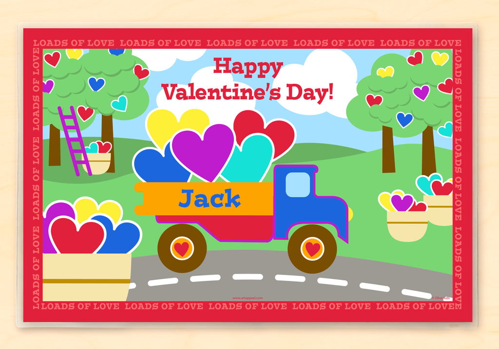 Valentine's Day Truck Personalized Kids Placemat by Olive Kids