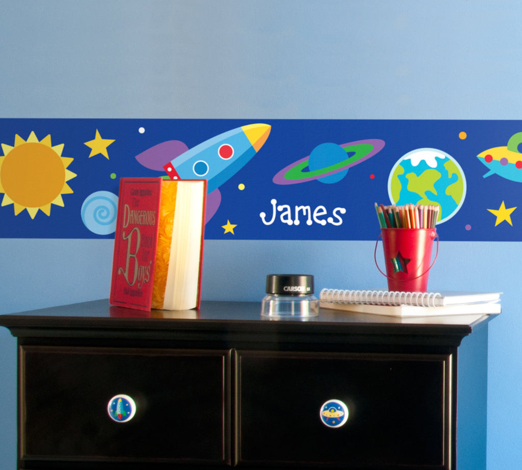 Out of This World Personalized Kids Peel & Stick Decal Wall Border