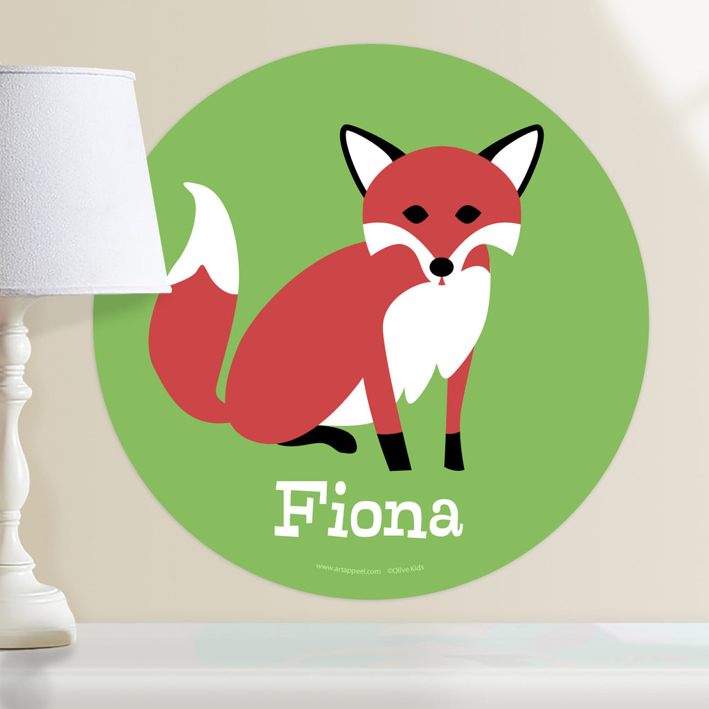Personalized kids circular wall decal features cute red fox with white details on a green background.