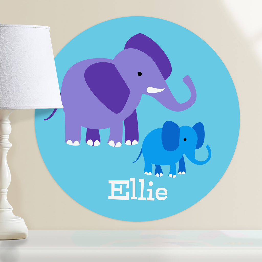 Elephat and baby kids personalized circular wall decal. Purple and blue elephants on light blue background.