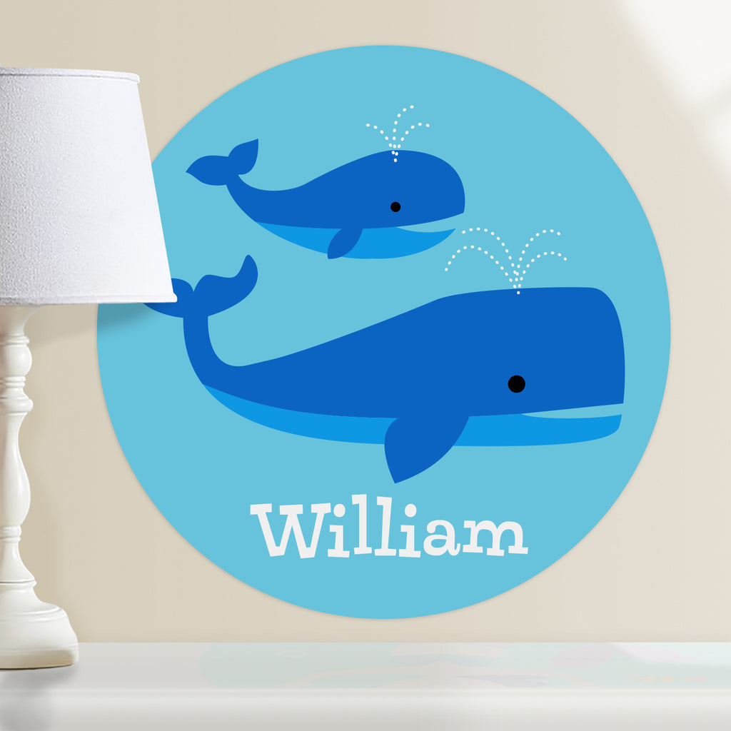 Mother and baby whale kids personalized circular wall decal. Blue whales on a blue green background.