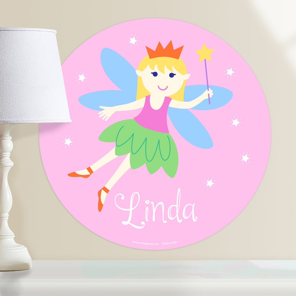 Kids fairy personalized circular wall decal.  Blond hair fairy on a pink packground.