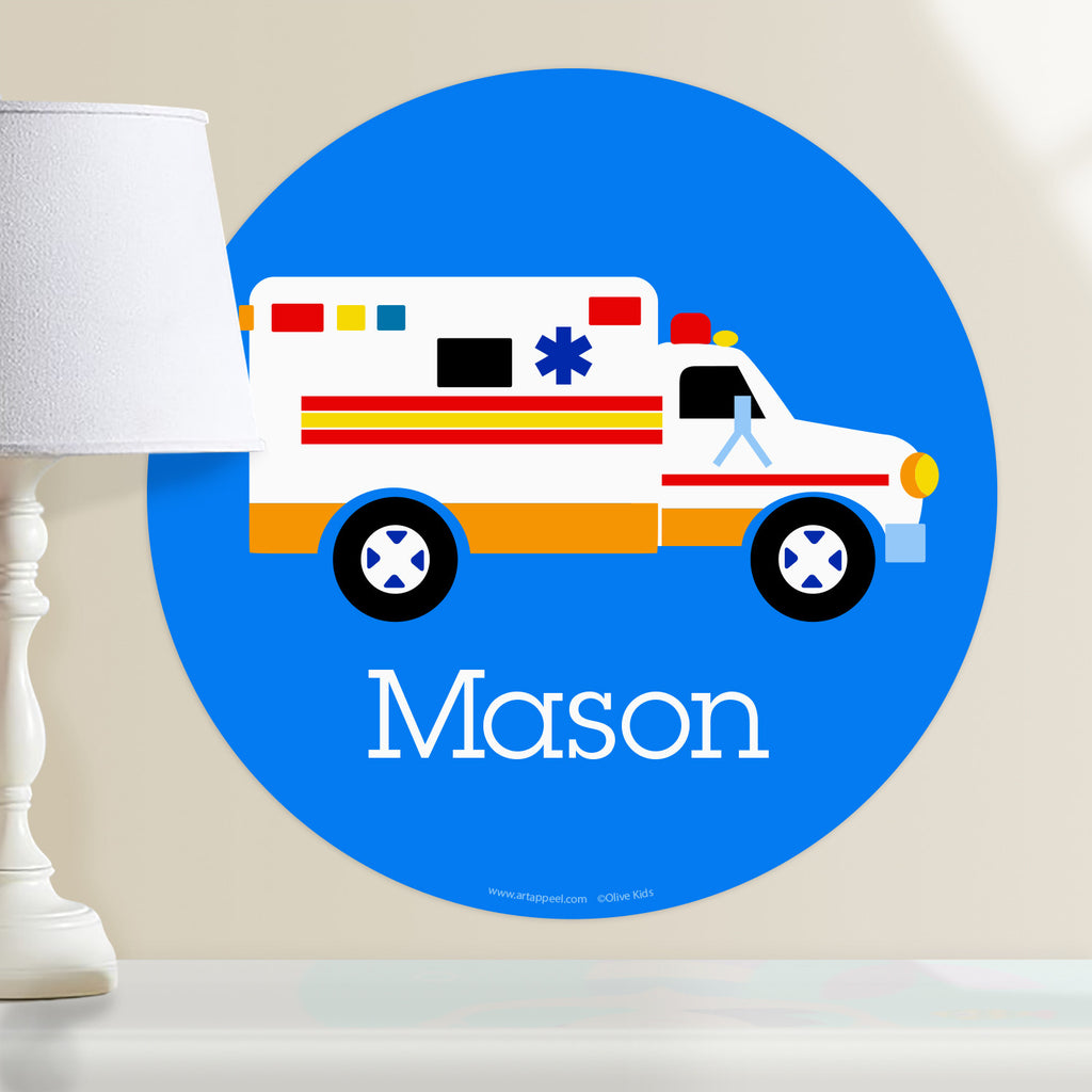 Personalized kids hero themed wall decal.  EMT ambulance on a blue background.