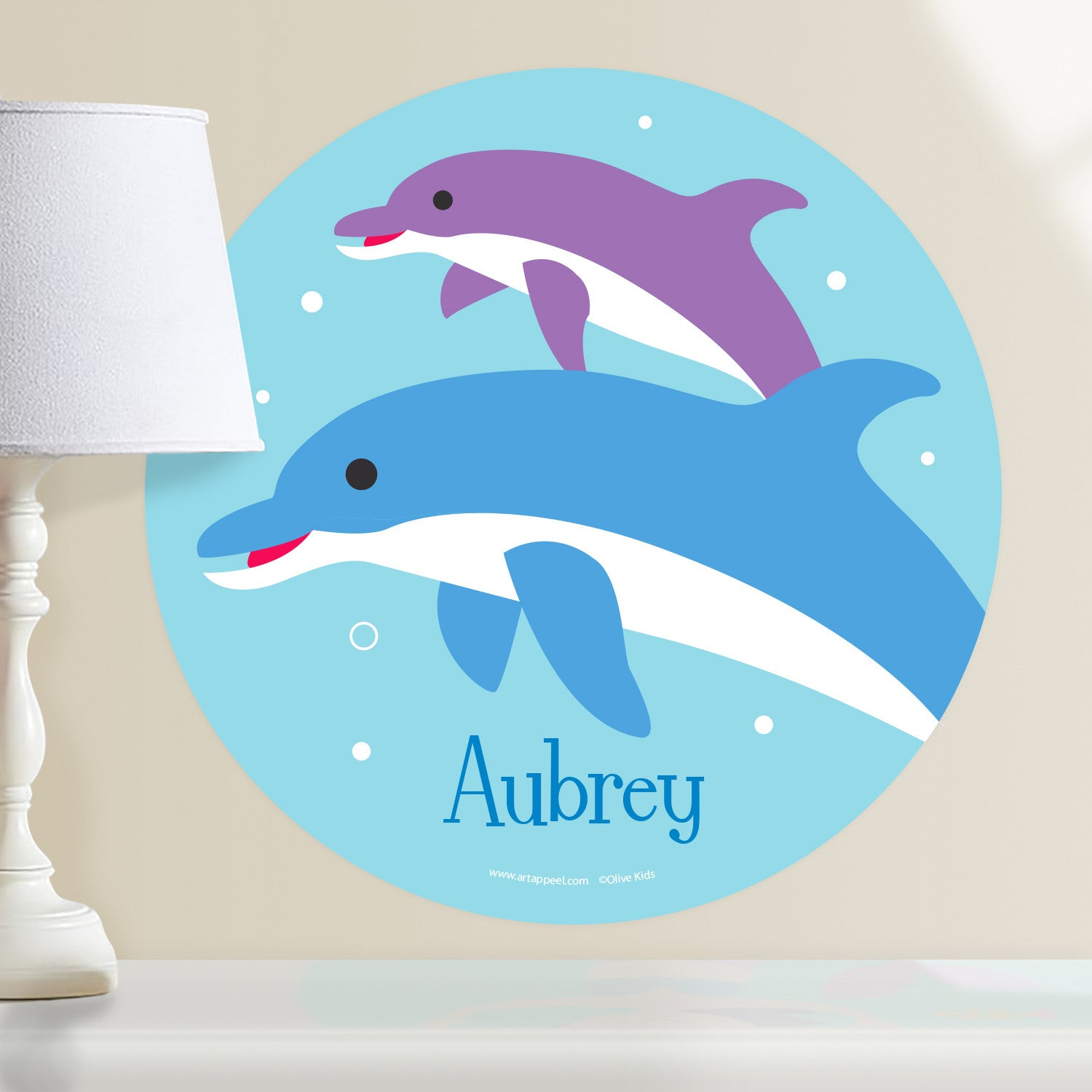 Dolphins personalized kids wall dotz decal art appeel dolphin personalized kids wall decal features one blue dolphin and one purple dolphin on an ocean amipublicfo Image collections