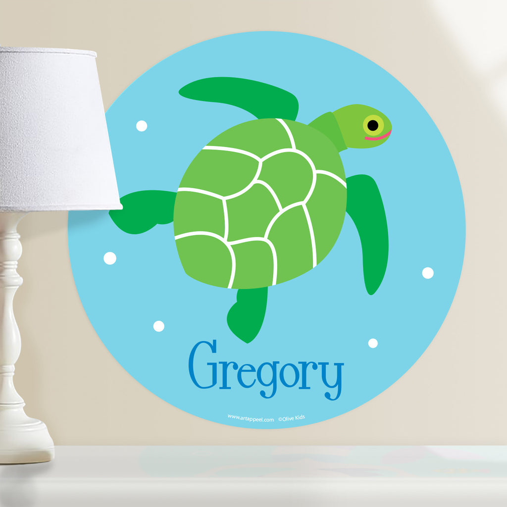 Sea turtle personalized kids wall decal. Green sea turtle on a ocean blue background. Circle shape.
