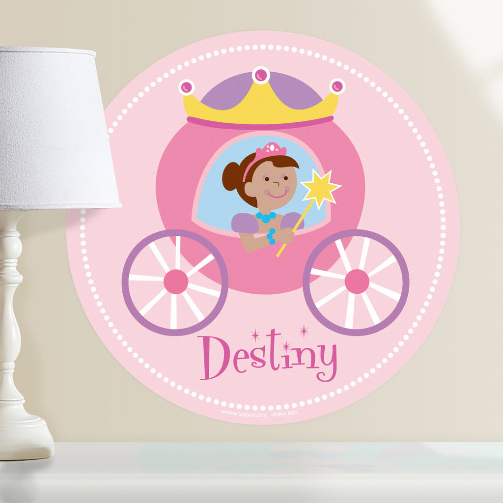 Princess personalized wall decal.  Circular shape, with dark complection princess sitting in her pink and purple coach. Light pink background.