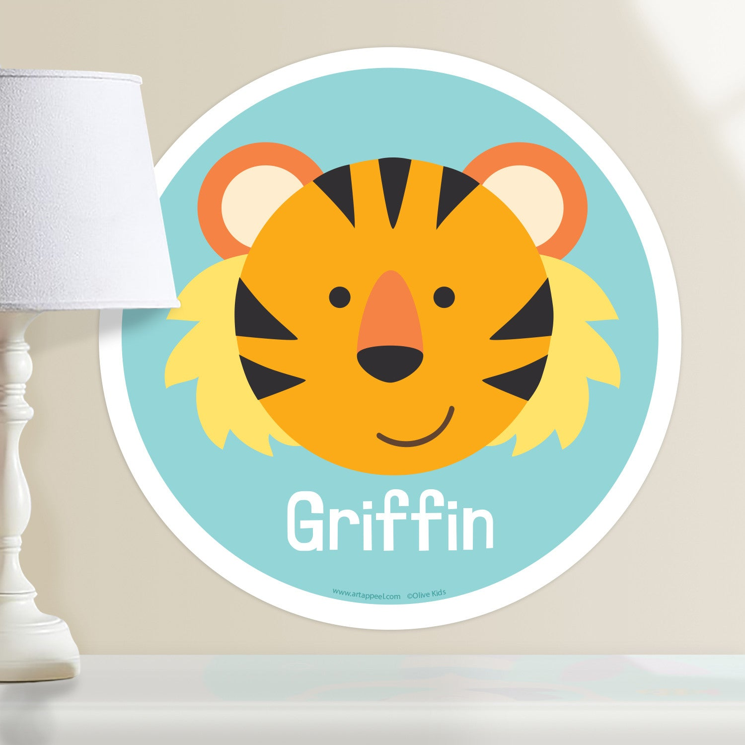 Baby Animals Tiger Personalized Kids Wall Dotz Decal - Art Appeel