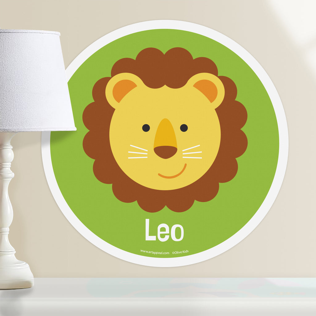 Kids personalized circular wall decal. Happy lion cub face on a pea green background.