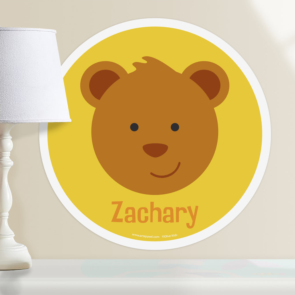 Kids personalized circular wall decal. Happy baby bear portrait on golden yellow background.