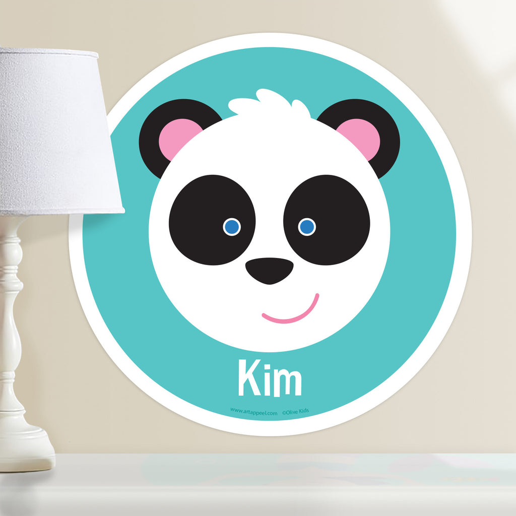 Kids personalized circular wall decal. Happy baby panda portrait on a blue-green background.